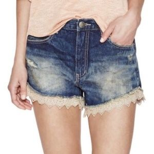 Free People Distressed Denim Blue Jean Shorts